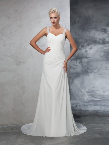 Trumpet/Mermaid Chiffon Ruched Straps Court Train Sleeveless Wedding Dresses