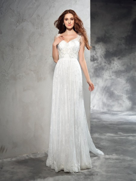 A-Line/Princess Straps Court Train Sleeveless Lace Wedding Dresses