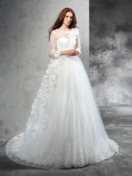 Ball Gown Net Hand-Made Flower Sheer Neck Court Train Long Sleeves Wedding Dresses