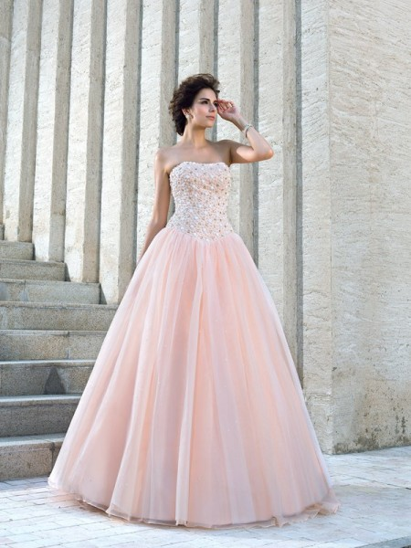 Ball Gown Satin Beading Strapless Sleeveless Floor-Length Wedding Dresses