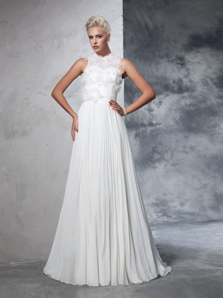 A-Line/Princess Chiffon Pleats High Neck Court Train Sleeveless Wedding Dresses