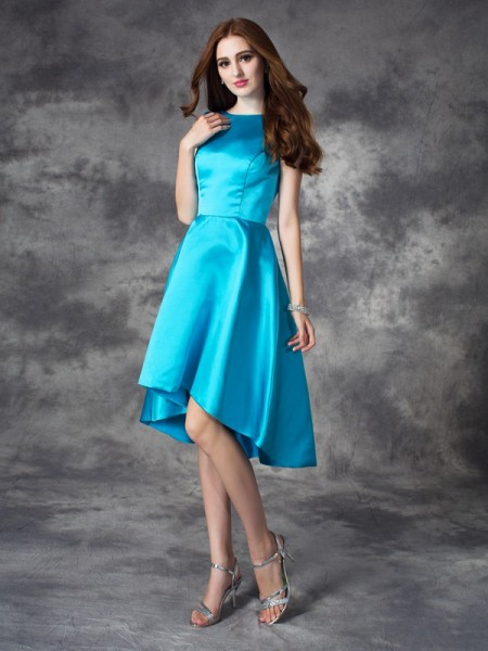 A-Line/Princess Satin Bateau Ruffles Asymmetrical Sleeveless Bridesmaid Dresses