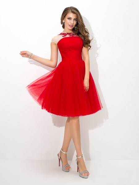 A-Line/Princess Net Sheer Neck Sleeveless Short/Mini Applique Dresses