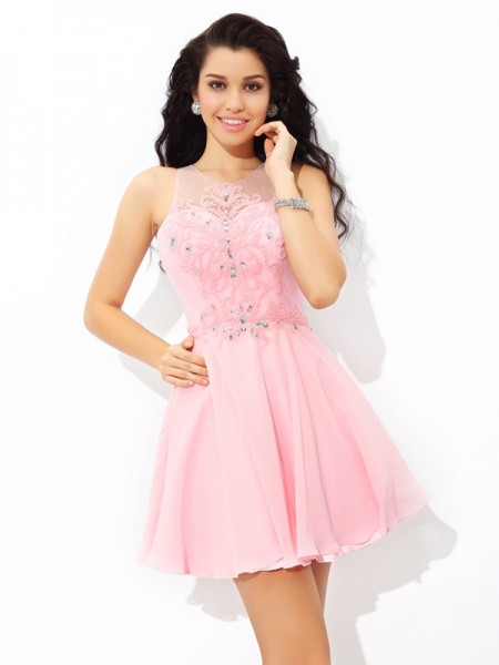 A-Line/Princess Chiffon Sheer Neck Sleeveless Applique Short/Mini Dresses