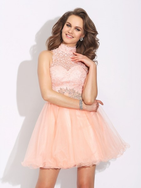 A-Line/Princess Net Beading High Neck Short/Mini Sleeveless Dresses