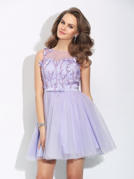 A-Line/Princess Satin Applique Bateau Sleeveless Short/Mini Dresses