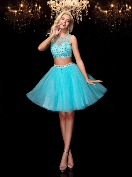 A-Line/Princess Net Scoop Sleeveless Short/Mini Rhinestone Dresses