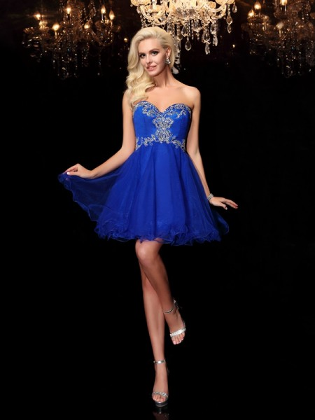 A-Line/Princess Net Beading Sweetheart Short/Mini Sleeveless Dresses