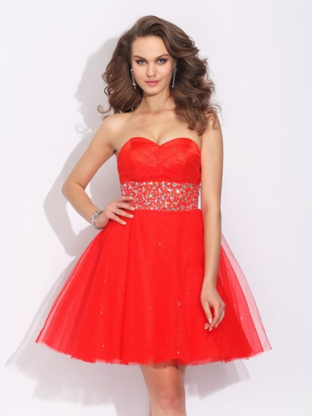 A-Line/Princess Net Rhinestone Sweetheart Sleeveless Short/Mini Dresses