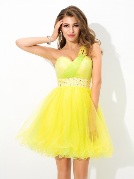 A-Line/Princess Net Beading One-Shoulder Sleeveless Short/Mini Dresses