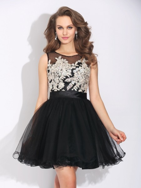 A-Line/Princess Net Scoop Short/Mini Ruffles Sleeveless Dresses