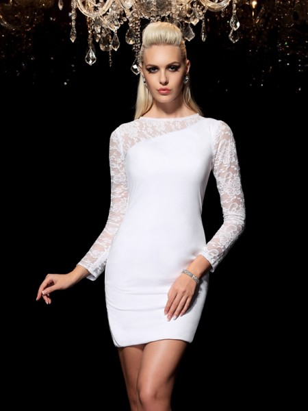 Sheath/Column Scoop Elastic Woven Satin Lace Long Sleeves Short/Mini Dresses
