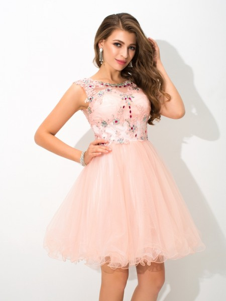 A-Line/Princess Elastic Woven Satin Beading Sheer Neck Sleeveless Short/Mini Dresses