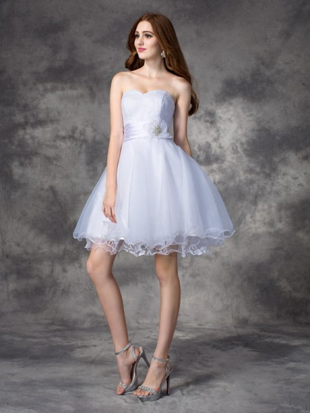 A-Line/Princess Organza Ruffles Sweetheart Sleeveless Short/Mini Dresses