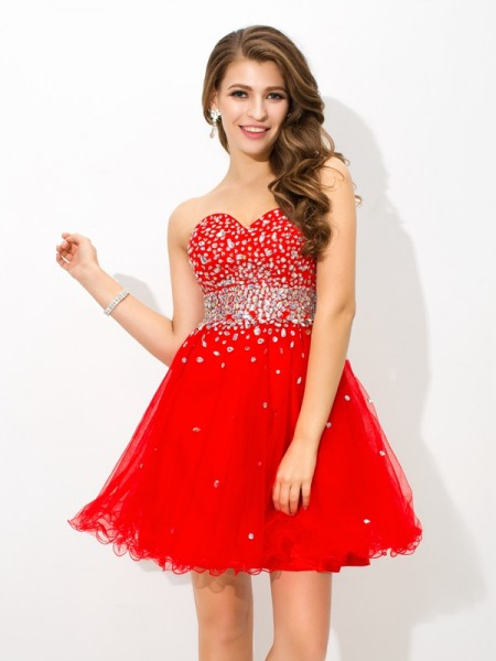 A-Line/Princess Organza Sweetheart Short/Mini Beading Sleeveless Dresses