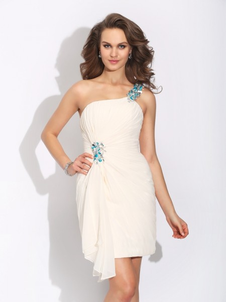 Sheath/Column Chiffon One-Shoulder Sleeveless Beading Short/Mini Dresses