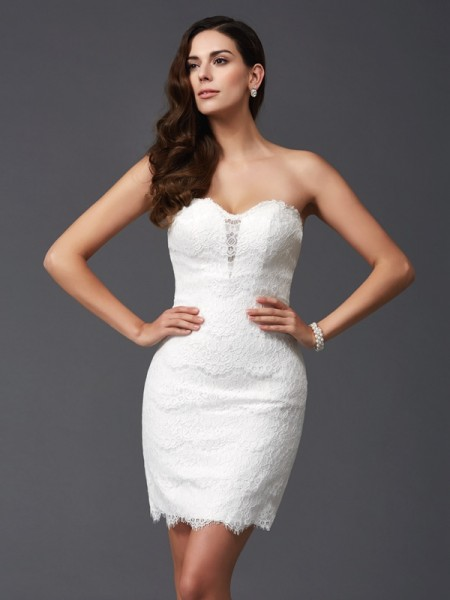 Sheath/Column Sweetheart Lace Short/Mini Sleeveless Dresses