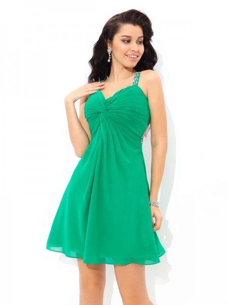 A-Line/Princess Chiffon Straps Sleeveless Pleats Short/Mini Dresses