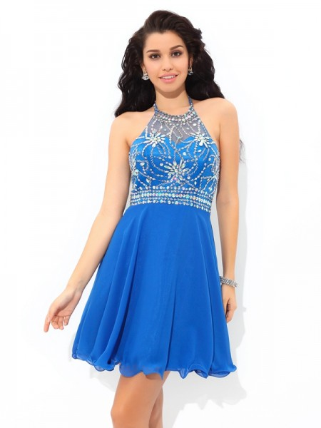 A-Line/Princess Chiffon Halter Sleeveless Beading Short/Mini Dresses