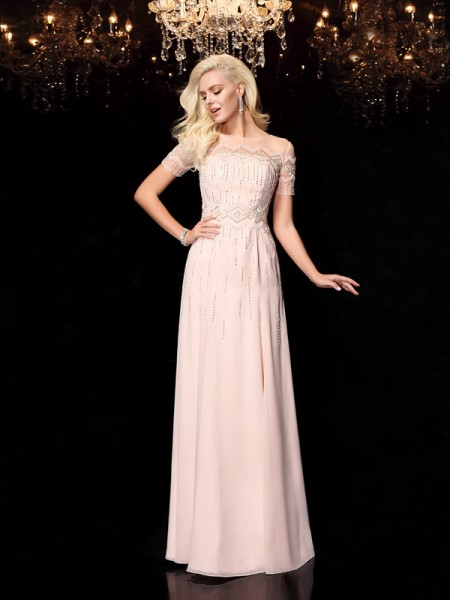 A-Line/Princess Bateau Chiffon Short Sleeves Floor-Length Beading Dresses