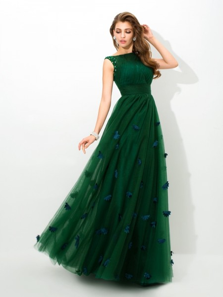 A-Line/Princess Sheer Neck Net Beading Floor-Length Sleeveless Dresses