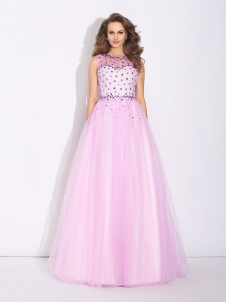 A-Line/Princess Net Rhinestone Jewel Sleeveless Floor-Length Dresses
