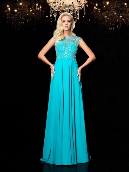 A-Line/Princess Chiffon Lace Jewel Short Sleeves Floor-Length Dresses