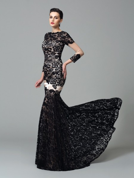Sheath/Column Elastic Woven Satin Lace High Neck 3/4 Sleeves Sweep/Brush Train Dresses