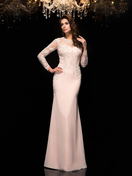 Sheath/Column Chiffon Sheer Neck 3/4 Sleeves Applique Floor-Length Dresses