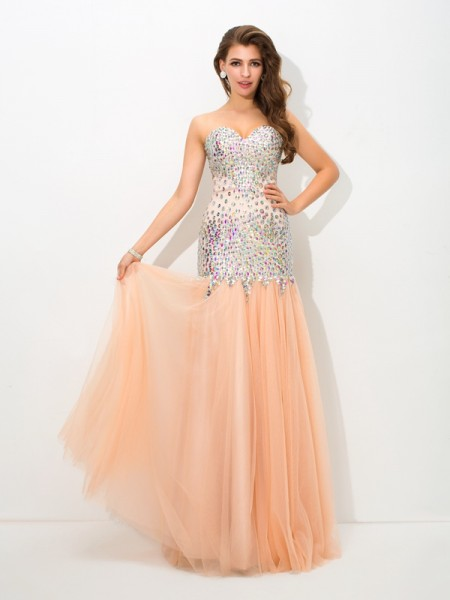 Trumpet/Mermaid Net Sweetheart Sleeveless Floor-Length Beading Dresses