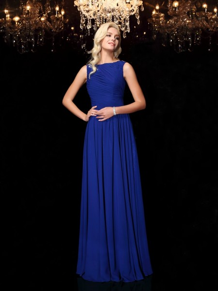A-Line/Princess Bateau Rhinestone Chiffon Floor-Length Sleeveless Dresses