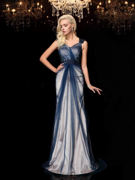 Sheath/Column Elastic Woven Satin Straps Sleeveless Applique Sweep/Brush Train Dresses