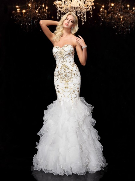 Trumpet/Mermaid Organza Sweetheart Sleeveless Floor-Length Beading Dresses