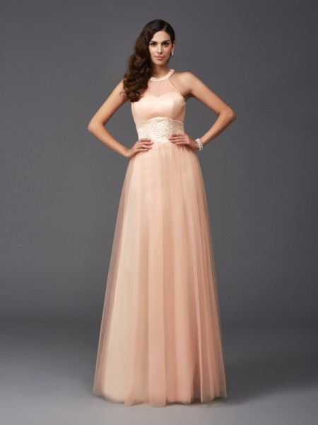 A-Line/Princess Net Halter Sleeveless Beading Floor-Length Dresses