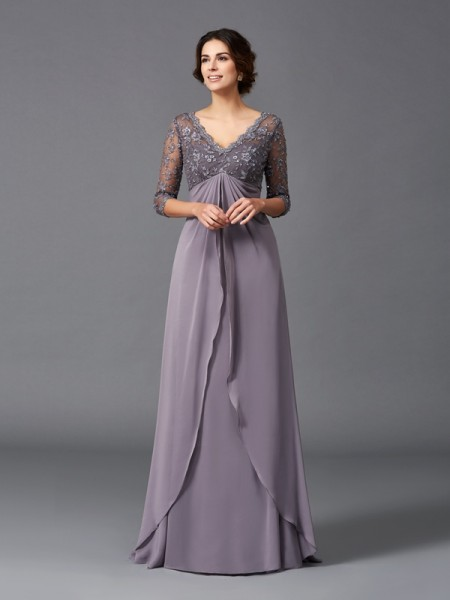A-Line/Princess V-neck Chiffon 3/4 Sleeves Lace Floor-Length Mother of the Bride Dresses