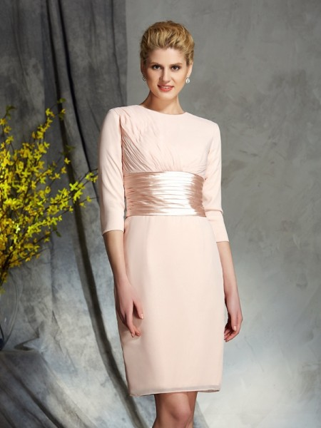 Sheath/Column Chiffon Scoop 3/4 Sleeves Short/Mini Mother of the Bride Dresses