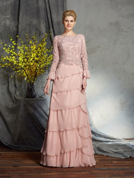 Sheath/Column Scoop Chiffon Ruffles Long Sleeves Floor-Length Mother of the Bride Dresses
