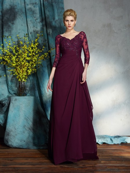 A-Line/Princess Beading V-neck 3/4 Sleeves Chiffon Floor-Length Mother of the Bride Dresses