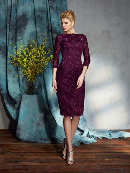 Sheath/Column Bateau 3/4 Sleeves Lace Knee-Length Mother of the Bride Dresses