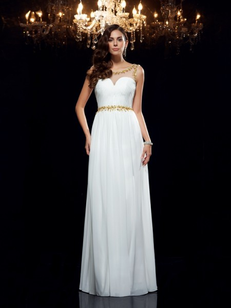 A-Line/Princess Chiffon Beading Sheer Neck Sleeveless Floor-Length Dresses