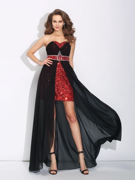 A-Line/Princess Sequin Sweetheart Asymmetrical Chiffon Sleeveless Dresses