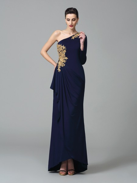 Sheath/Column One-Shoulder Spandex Embroidery Long Sleeves Floor-Length Dresses