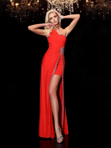 Sheath/Column One-Shoulder Spandex Sleeveless Beading Floor-Length Dresses
