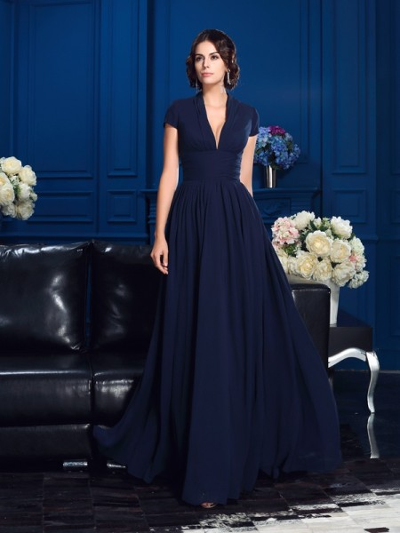 A-Line/Princess V-neck Chiffon Applique Floor-Length Short Sleeves Mother of the Bride Dresses
