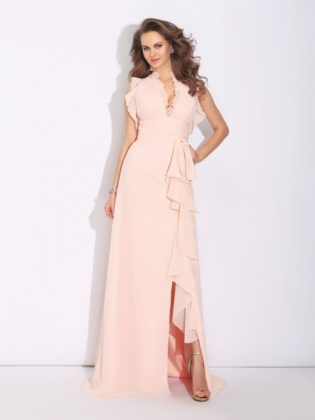A-Line/Princess High Neck Chiffon Ruffles Sweep/Brush Train Sleeveless Dresses