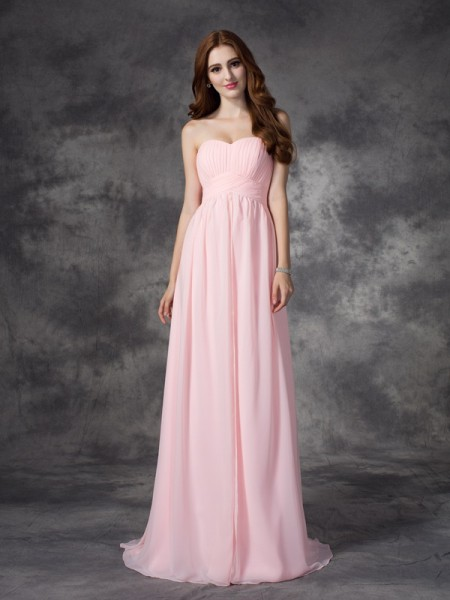 A-Line/Princess Sweetheart Sleeveless Ruched Chiffon Sweep/Brush Train Dresses