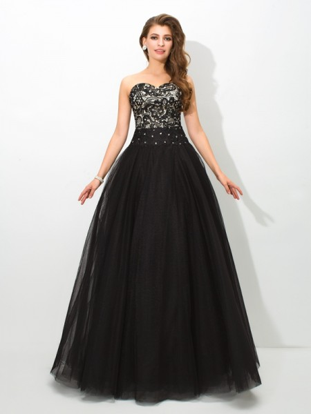 Ball Gown Net Sweetheart Sleeveless Floor-Length Lace Dresses