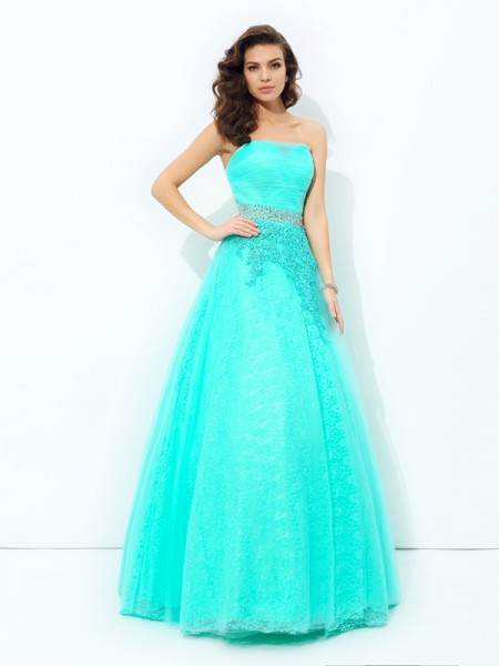 A-Line/Princess Elastic Woven Satin Strapless Beading Floor-Length Sleeveless Dresses