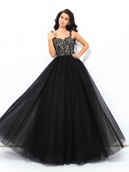 Ball Gown Net Applique Straps Sleeveless Floor-Length Dresses