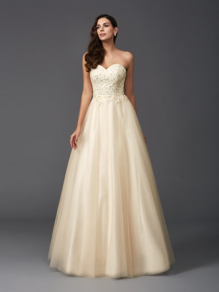 A-Line/Princess Net Sweetheart Sleeveless Floor-Length Beading Dresses